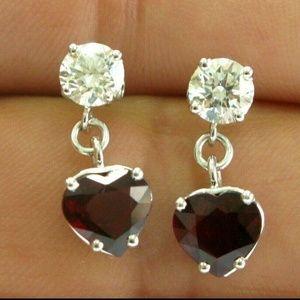 Jewelry - Fine Heart Shape Ruby & Diamond White Gold Drop Ea